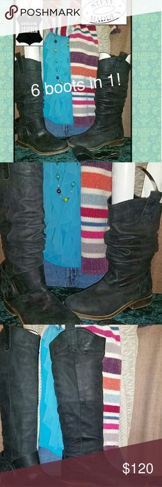Steve Madden Real Leather Boots! Real Steve Madden Black Nubuck Leather Pull On Boots w/removable buckle straps so you can wear casual or take it off to dress it up. Add your own anklet boot jewelry of your own to give it the style you like. (Cross anklet not included)  *My prices won't change upon likes. If you want the price lower, MAKE AN OFFER. I don't take offense to offers so I'm sure we can come to a fair agreement*Better deals w/Bundles & save U $$ on shipping. FYI...I ship fast : )…