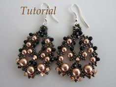 PDF tutorial beaded earrings rose gold Swarovski by BeadsMadness