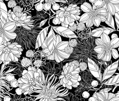 Garden at Twilight Black and White fabric by cjldesigns on Spoonflower - custom fabric