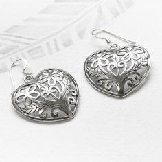 Large Filigree Silver Heart Earrings   Charlotte's Web Heart Earrings, Drop Earrings, Jewellery Sale, Jewelry, Charlotte's Web, Sterling Silver Filigree, Leaf Design, Great Gifts, Beautiful