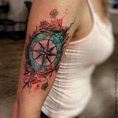 Artisticly Rich Compass Tattoo Designs (64)