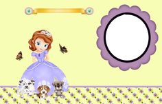 Sofia the First Free Printable Invitations, Cards or Photo Frames.