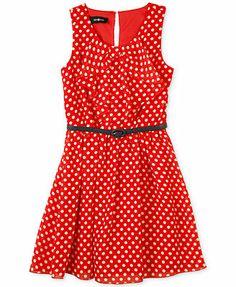d70fabb7bb BCX Girls  Bow-Front Belted Dress Girls Bows