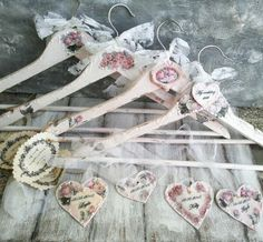 Set of 4.These are shabby chic decoupaged wedding hangers, which I can personalize for your wedding or as an wedding gift. So shabby and
