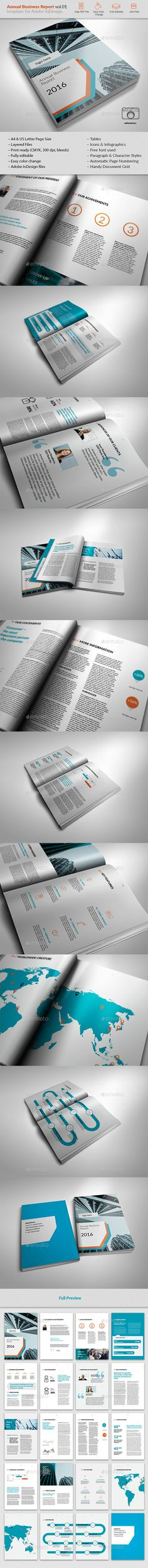 Landscape Annual Report Template Indesign Indd A And Us Letter