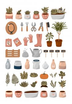 Gardening Tools, Flowers, Plants And Other Cute Garden Elements In Flat Cartoon Style. Kaktus Illustration, Garden Illustration, Cute Illustration, Watercolor Illustration, Watercolor Art, Printable Stickers, Cute Stickers, Journal Stickers, Aesthetic Stickers