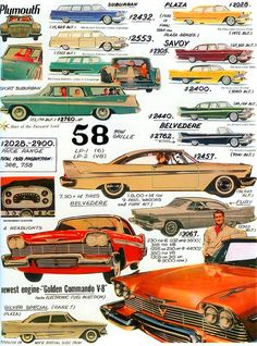 1958 Plymouth lineup & prices