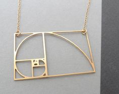 golden triangle with Golden spiral necklace Fibonacci by Delftia