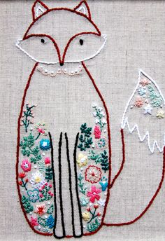 woodland fox embroidery pattern