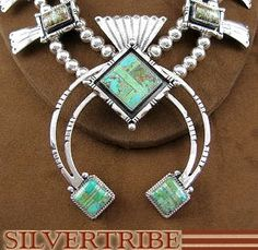 Navajo Native American Indian Sterling Silver Emerald Valley Turquoise Inlay Squash Blossom Necklace & Earring Set AS14668