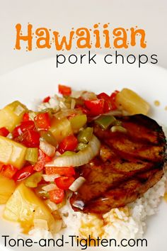 Hawaiian Grilled Pork Chops and Vegetables from Tone-and-Tighten.com - only 5 Weight Watchers points per serving!