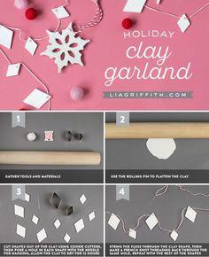 Clay Geometric Garland - Lia Griffith - www.liagriffith.com #diychristmas #diychristmasdecor #diyholidays #diyholiday #diygarland #garland #garlands #clay #madewithlia