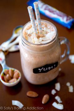 Skinny Almond Joy Milkshakes made from yogurt, bananas, and unsweetened cocoa powder. Delicious!