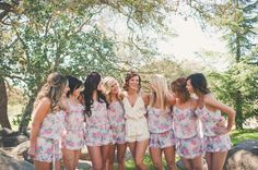 bridesmaids in super cute getting ready rompers. See more of this fun wedding here http://www.weddingchicks.com/2013/09/11/vintage-diy-wedding-3/