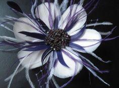 This is exactly what I'm thinking -from Radokri: ELENA - Custom Color Feather Flower Fascinator Hair Clip Birdcage Veil Flower Fan Rhinestone Ivory Vintage Bridal Wedding