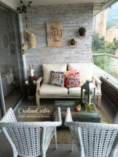 Balconies and terraces of cristina cortes design and decoration - Irupé Mazzaro - Ezgi Altaş - Dekoration - Terrasse Apartment Balcony Decorating, Interior Decorating, Interior Design, Apartment Design, Balcony Curtains, Balkon Design, Outdoor Furniture Sets, Outdoor Decor, Sweet Home