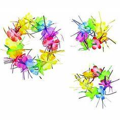 "Hawaiian Summer Luau Party 3"" Hand & 8"" Head Flower Leis Fabric Rainbow Tinsel #Amscan #LuauBeachParty"