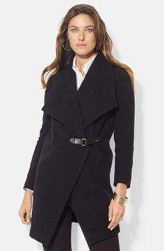 Lauren Ralph Lauren Tab Front Asymmetrical Wool Blend Coat (Online Only) available at #Nordstrom