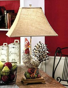 Black & White Rooster Lamp