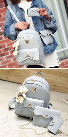 Cute Gray Pink Splicing Bowknot Shool Bag Bear Pendant PU Bow School  Backpacks for big sale b86bbdefd3e61