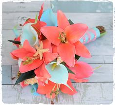 Silk Wedding Bouquet Natural Touch Coral and Aqua by Wedideas