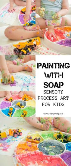 Painting with Soap - Sensory Process art for Toddlers & Preschoolers! http://www.acraftyliving.com