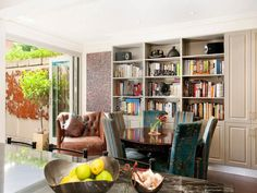 bookcase & living room
