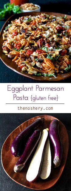 YUM!! Eggplant Parmesan Pasta {Gluten Free}   TheNoshery.com - @thenoshery