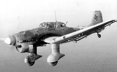 The Junkers Ju 87 or Stuka was a two-man German dive bomber and ground-attack aircraft. Designed by Hermann Pohlmann, the Stuka first flew in 1935 and made its combat debut in 1936 as part of the Luftwaffe's Condor Legion during the Spanish Civil War. Aircraft Photos, Ww2 Aircraft, Military Aircraft, Luftwaffe, Air Fighter, Fighter Jets, Aircraft Painting, Ww2 Planes, Battle Of Britain
