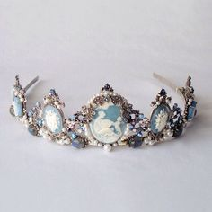 Drusilla Blue tiara - Gothic headpiece, marcasite, blue topaz, labradorite…