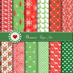 Christmas Digital Paper - Collage Sheet - Scrapbooking - Scrapbook - Printables - Clipart - Download - 1562