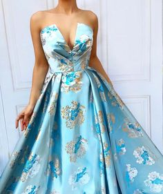 Details - Baby blue color - Designed Taft fabric - Ball-gown dress style - Party and evening dress Grad Dresses, Ball Gown Dresses, Maternity Dresses, Dress Up, Summer Gowns, Strapless Dress Formal, Formal Dresses, Nice Dresses, Embellished Dress