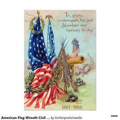 American Flag Wreath Civil War Memorial 5x7 Paper Invitation Card