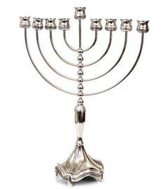 Large Menorah Silver Plated Hanukkiya Branch Hanukkah made in Israel