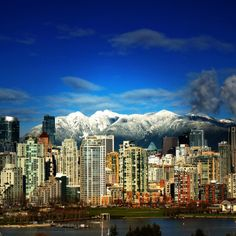 Vancouver with Coastal Mountains as a backdrop and beach in the forefront.  Spectacular!