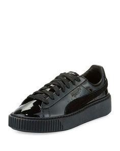 470dd784d7 Puma Basket Patent Platform Low-Top Sneaker, Black Black Lace Up Flats,  Black
