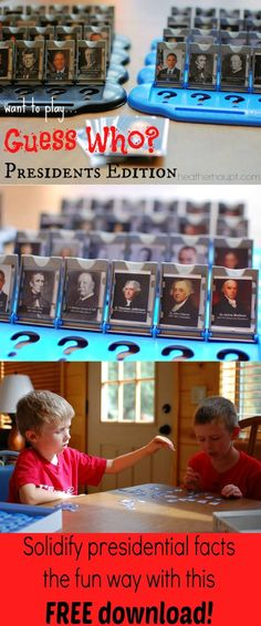 Download this FREE Printable and play a rousing game of Guess Who: President's Edition.Pictures, fact sheets to help with asking questions.