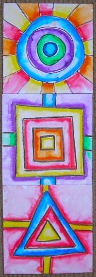 "Fine Lines: Kindergarten Collaborative Shapes using 6""x6"" square paper, crayons, primary and secondary colors, brush, and water."