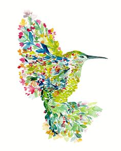 Mōhala - Hummingbird    this listing is for a professional print of original watercolor and ink painting/illustration of the beautiful bird