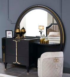 Venus Furniture Home Black Bedroom Design, Bedroom Bed Design, Home Room Design, Living Room Designs, Bedroom Dressing Table, Dressing Table Design, Modern Bedroom Furniture, Staging Furniture, Furniture Ideas