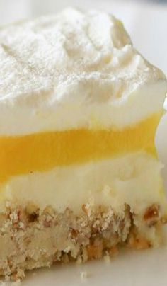 Lemon Lush ~ This dessert is light and creamy, with a crunchy shortbread crust.