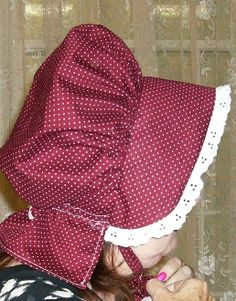 Free Online Bonnet Pattern | Buns and Baskets: Pioneer Bonnet Tutorial Bonnet Pattern, Bonnet Hat, Baby Doll Clothes, Diy Clothes, Baby Blanket Crochet, Crochet Baby, Pioneer Bonnet, Amish Dolls, Pioneer Clothing