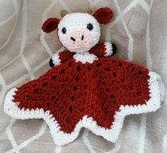 Crochet Cow Lovey Blanket by SnugAsABugHandCrafts on Etsy