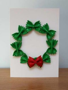 No Mess Pasta Wreath Christmas Card
