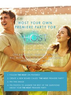 "Enter to win a premiere party prize pack from The Host! Here's how to enter:  1. Follow The Host on Pinterest  2. Create a new board called ""The Host Premiere Party""  3. Pin this image  4. Pin answers to the 10 questions on this board: http://pinterest.com/thehostthefilm/the-host-premiere-party/ **Contest ends 3/22/13 11:59 PST**"