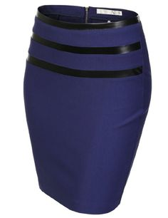 Amazon.com: J.TOMSON Womens Jersey Pencil Skirt With 3 Pleather Line Detail: Clothing