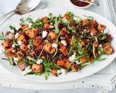 This easy salad is hearty and healthy, packed with roasted sweet potatoes, carrots and red onion, which pair wonderfully with the Puy lentils and crumbled feta.