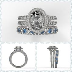 Check out this Custom Halo Diamond Ring & Matching Diamond & Sapphire Band--a great example of what we can do for you! http://brilliance.com/custom-engagement-rings (This custom halo engagement ring is set in 950 Platinum & features a beautiful Oval-cut Diamond encircled by a halo of pave diamonds in a split shank, with a sparkling Round-cut Diamond set in between each split. The matching Wedding Band is set in 950 Platinum, & features Round-cut Diamonds & Sapphire gemstones that are pave…