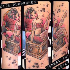https://www.facebook.com/VorssaInk, http://tattoosbykata.blogspot.fi, #tattoo #tatuointi #katapuupponen #vorssaink #forssa #finland #traditionaltattoo #suomi #oldschool #pinup #gramophone