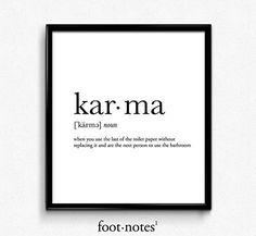 Karma definition, dictionary art print, dictionary art, office decor, minimalist poster, funny definition print, definition poster, quotes